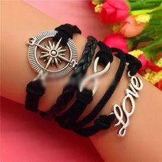Make Offer Compass Love Infinity Wrap Bracelet Brand New #B044 Jewelry Bracelets