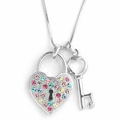 Silver Tone Heart Locket & Key Pendant