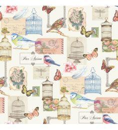 Papel pintado collage romantico de colores con postales jaulas y pajaros - 40998