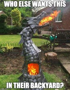 Fire Breathing Dragon Log Wood Burner Gas Bottle Chimenea Game of Thrones in Garden & Patio, Barbecuing & Outdoor Heating, Firepits & Chimeneas Dragon Fire Pit, Fire Breathing Dragon, Dragon Head, Cool Ideas, Outdoor Fire, Outdoor Decor, Metal Fire Pit, Cool Fire Pits, Fire Pit Designs