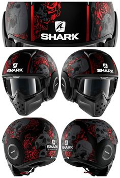 Shark Raw Drak Sanctus Matt Black Red