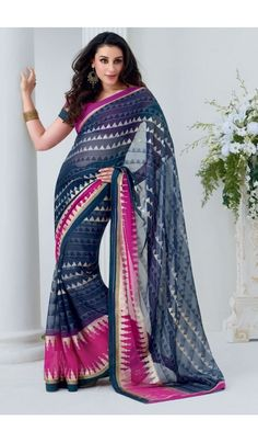 Grace yourself by draping in this Blue #chiffon #brasso printed #casual wear #saree with trendy and #elegant print on it. The saree is an ideal choice of attire for casual events and comes attached with matching blouse piece that can be custom made for upto bust size of 42 inches.