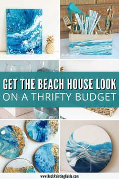 How To Start Painting, Diy Painting, Rock Painting, Coastal Paint, Coastal Decor, Painted Cups, Painted Rocks, Canvas Art Projects, Diy Projects