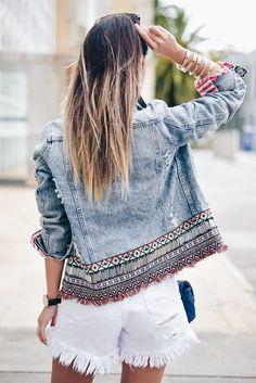 Denim Fashion, Boho Fashion, Fashion Dresses, Look Blazer, Denim Art, Look Boho, Denim Ideas, Denim Crafts, Diy Clothing
