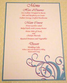 Swirl design menu cards