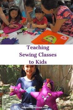 Do you want to start teaching sewing classes to kids? Here's my essential guide. Sewing Classes For Kids, First Sewing Projects, Sewing Lessons, Sewing Projects For Beginners, Sewing For Kids, Free Sewing, Sewing Ideas, Diy Projects, Teaching Kids