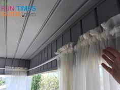 I made these PVC pipe curtain rods to hold long sheer porch curtains for 15 Got the supplies at Lowes measured cut and installed the outdoor curtain rods in 1 hour Front Porch Curtains, Outside Curtains, Outdoor Curtains For Patio, Balcony Curtains, Burlap Curtains, Front Porches, Outdoor Curtain Rods, Pipe Curtain Rods, Sheer Curtain Panels
