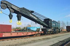 """414651 250 ton capacity """"Big Hook"""" built by Industrial Brownhoist. November 7, 2001 Coquitlam, BC Andy Cassidy Note: This auxiliary crane was being transferred to Golden, BC --- Canada"""