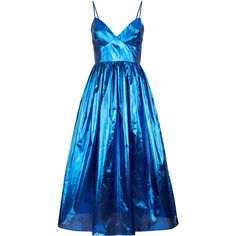 Malene Oddershede Bach     Apogee Gathered Metallic Dress (£515) ❤ liked on Polyvore featuring dresses, blue, rouched dress, blue sweetheart dress, a line sweetheart dress, ruched empire waist dress and metallic blue dress