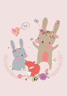 A sweet and whimsical illustration of a bunny with her woodland friends. Illustrated by Aless Baylis. Illustration Mignonne, Art And Illustration, Lapin Art, Image Deco, Art Mignon, A4 Poster, Bunny Art, Kids Prints, Nursery Art