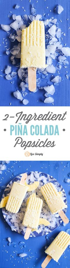 Only TWO ingredients! 100% vegan, gluten-free, and dairy-free. No nasty ingredients or sweeteners. Just blend, pour, and enjoy. So easy. Family-friendly. http://livesimply.me/2015/05/19/2-ingredient-pina-colada-popsicles-family-friendly/