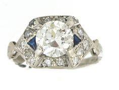 Vintage Edwardian Art Deco Platinum Round Diamond by villagejewel
