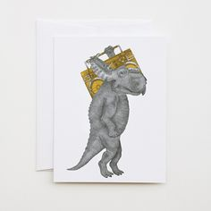 John Barnstaple Pachyrhinosaurus by lecanotrouge. Note or Greeting Card for giving or keeping (the perfect size and price for framing in a fun little art collection!)