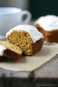 Pumpkin Mini Loaves with Cinnamon Cream Cheese Frosting from Latest Fall Desserts, Just Desserts, Delicious Desserts, Dessert Recipes, Yummy Food, Mini Desserts, Dessert Ideas, Tasty, Pumpkin Loaf