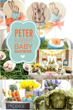 A Peter Rabbit Inspired Baby Shower boy baby shower ideas Baby Shower Favors, Shower Party, Baby Shower Parties, Baby Shower Themes, Baby Shower Decorations, Baby Boy Shower, Baby Shower Invitations, Baby Shower Gifts, Shower Ideas