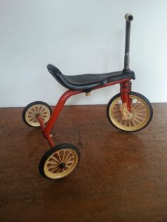 Vintage Tricycle 1960s Ampatoys Kids Banana Seat Metal Bike Black And Red Made In UK
