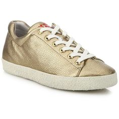 Ash Nicky Bis Metallic Leather Sneakers ($198) ❤ liked on Polyvore featuring shoes, sneakers, apparel & accessories, metallic sneakers, ash shoes, flatform sneakers, low profile sneakers and lace up sneakers