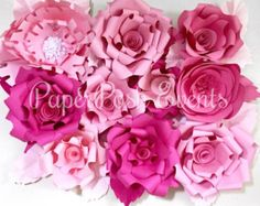 Paper Flower bundle of 5 Handmade Paper by MarthasMasterpieces
