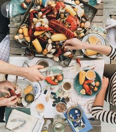 Lobster Boil / Bon Appetit I like that the food is in a box Lobster Boil, Seafood Boil, Fish And Seafood, Seafood Recipes, Crab Boil, Lobster Party, Lobster Feast, Crab Feast, Lobster Dinner