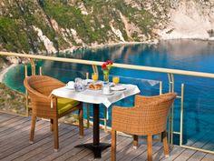 Petani Bay Hotel, Kefalina Greece beautiful view at the beach Hotel Breakfast, Bay Photo, Outdoor Furniture Sets, Outdoor Decor, Greece, Villa, Island, Beach, Table