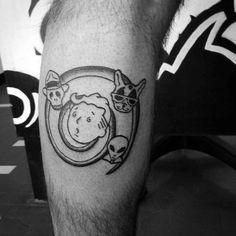 Fantastic Fallout Tattoos On leg for guy