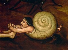 Hieronymus Bosch, c.1450 (Tudor era).  This is a detail from Hell, one of my favorite works by him (then, I <3 his art).  I never noticed this snail guy in it until today.  Apropos for Hallowe'en :)