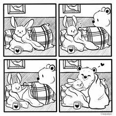 Cute Couple Comics, Couples Comics, New Ios, Bunny And Bear, Cute Bears, Love Can, Cupid, Cute Couples, Rabbit