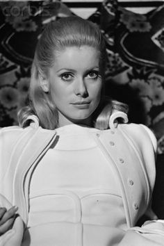 Catherine Deneuve Smooth Part Pinned Back Curled Ends.  So Beautiful!