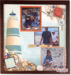 Framed Scrapbook page made with the @BoBunny Boardwalk Paper Collection. Supplies available at our Ben Franklin Crafts store in Monroe, WA www.bfranklincraf... #scrapbook #inspiration #BoBunny