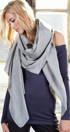 Luxurious silk scarf in a beautiful dusty sage color.