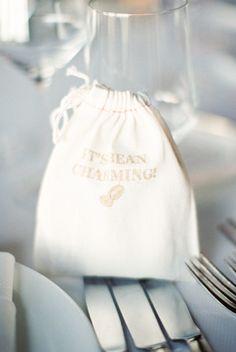 """It's bean charming"" coffee favors: http://www.stylemepretty.com/california-weddings/santa-barbara/2015/08/26/elegant-santa-barbara-resort-wedding/   Photography: Michael & Anna Costa - http://www.michaelandannacosta.com/"