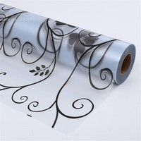 Wish | Trendy Fashion 45*100cm/17.7*39.4 Frosted Opaque Glass Window Film Privacy Glass Stickers Home Decor Black white Wrought Iron Flower