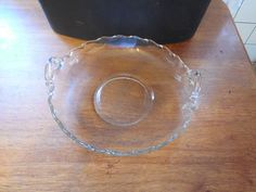 "Vintage Fostoria Century Crystal Glass 8 ½"" Cupped Handled Round Serving Bowl  #FostoriaCentury"
