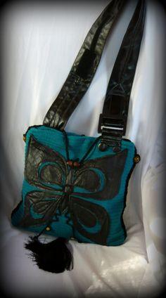 Türkiz pillangós táska, Táska, Ruha, divat, cipő, Válltáska, oldaltáska, Tarisznya, Meska