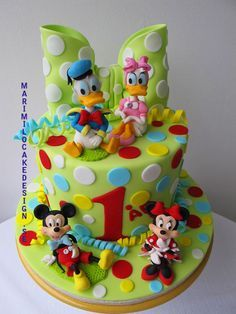 Disney Cake with Donald & Daisy and Mickey & Minnie...