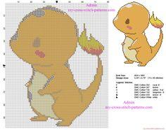 Pokemon Charmander Kawaii version simple and small cross stitch pattern