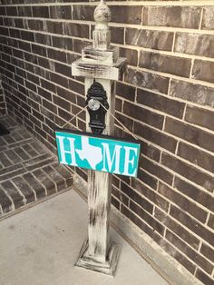 """""""welcome to our home"""" with the 0 in home being the TN shape! Porch Posts, Door Decorations, Wood Front Doors, Hanging Signs, Wooden Signs, Porch Decorating, Wreath Stand, Wooden Posts, Front Door Decor"""