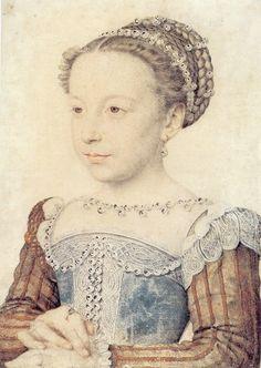 2. François Clouet (vers 1515-1572) Portrait de Marguerite de France, vers 1559 Encre brune, gouache, lavis - 29,7 x 21,3 cm Chantilly, Musée Condé Photo : RMN/R. G. Ojeda