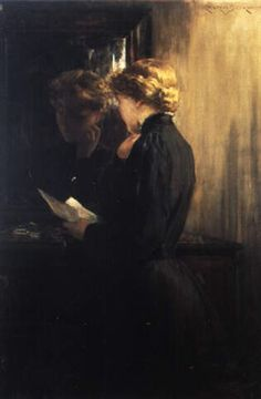 """""""The Letter"""" (aka Grandmother's Love Letters) oil  -  James Carroll Beckwith (American, 1852-1917)"""