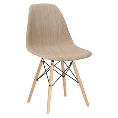 Woven Vortex Dining Chair with Natural Legs in Beige