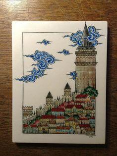 #çini Bridge Drawing, Cloud Drawing, Painting Carpet, Turkish Art, Turkish Tiles, Art Archive, Painting Lessons, Chinese Art, Chinese Design