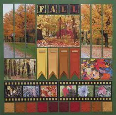 Scrapbook page of fall photos! We just love the banners and film strips made with Mosaic Moments dies.