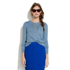 Long-Sleeve Indigo Ink Dot Tee #Madewell (love the pencil skirt, too, also madewell)