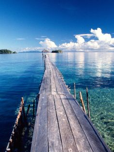 Bucketlist - Wooden Jetty Extending off Kadidiri Island, Togian Islands, Sulawesi Stretched Canvas Print by Jay Sturdevant at Art.com