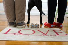 Pregnancy Announcement with our dog...(and TOMS)!