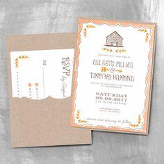 Rustic Barn Wedding Invitation with Pocket | Smitten on Paper