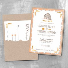 rustic barn wedding invitation with pocket smitten on paper