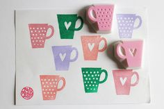 mug cup hand carved rubber stamps. polka dot cup by talktothesun