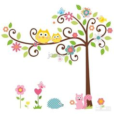 Color Cartoon Owl Tree Children Room Wall Sticks Wall Stickers | Buy Wholesale On Line Direct from China so cute awww