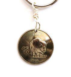 Kansas Key Ring Buffalo Bison U.S. State Quarter by Hendywood